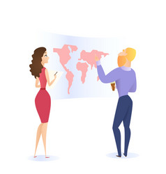 bearded man learning world map and woman watching vector image