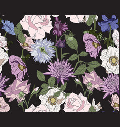 beautiful fabric blooming flowers vector image