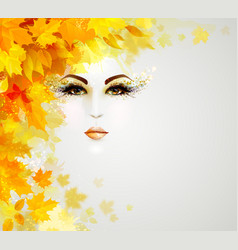 Beautiful woman in autumn circle of leaves vector