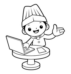 black and white chef mascot receive an order with vector image