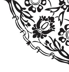 Black and white round floral border corner vector