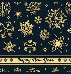 black christmas seamless pattern with golden vector image