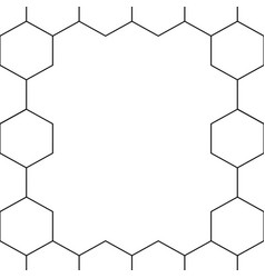 Black honeycomb hexagon border on white background vector