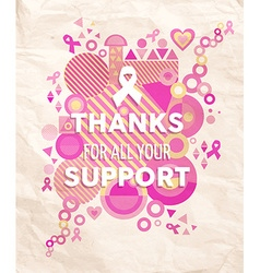 Breast cancer awareness geometry support poster vector image