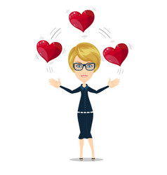 Businesswoman juggling hearts vector