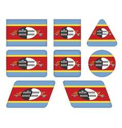 buttons with flag of Swaziland vector image