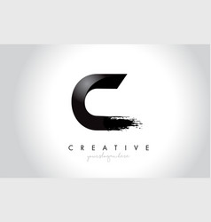 c letter design with brush stroke and modern 3d vector image
