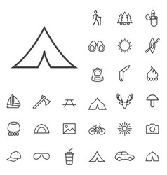 camping outline thin flat digital icon set vector image
