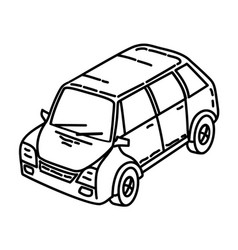 car icon doodle hand drawn or outline icon style vector image