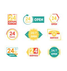 cartoon 24 hours open service tag icon set vector image vector image