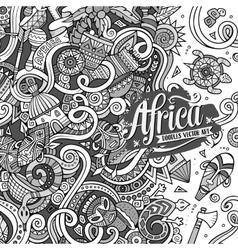 Cartoon cute doodles africa frame vector