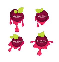 Cherry season collection labels logo vector