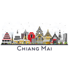Chiang mai thailand city skyline with color vector