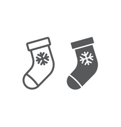 christmas stocking line and glyph icon christmas vector image