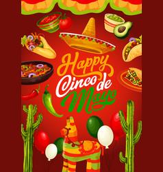 cinco de mayo mexican fiesta food and pinata vector image