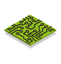 circuit board computer chip isometric isolated vector image