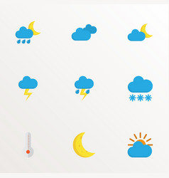 climate icons flat style set with moon vector image