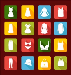 collection Icons of Women Fashion clothing vector image