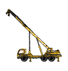 color crayon stripe cartoon construction crane vector image