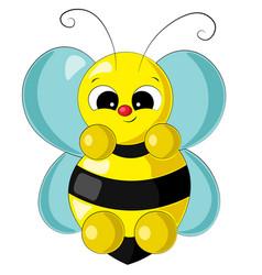 Cute cartoon bee draw in color vector