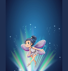 Cute fairy flying at night vector