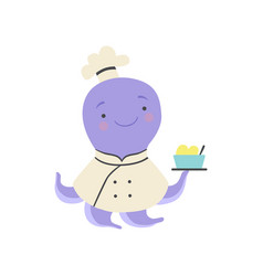 cute octopus in chef uniform holding delicious vector image