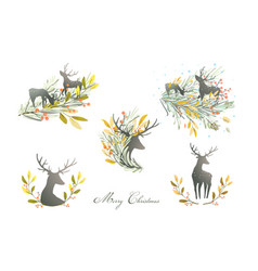 deers reindeers collection logotype or prints vector image