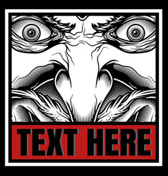 Demon with text hand drawing vector