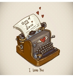 Doodle Vintage Greeting Card with Retro Typewriter vector image