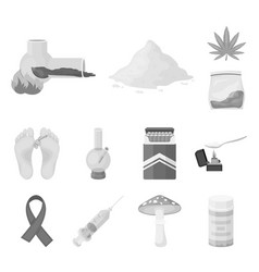 drug addiction and attributes monochrome icons in vector image