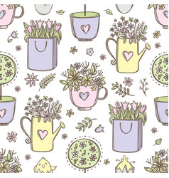 easter flowers holiday seamless pattern vector image