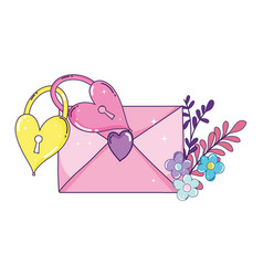 envelope heart with flowers and padlocks vector image