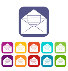 Envelope with sheet of paper icons set flat vector