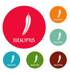 eucalyptus leaf icons circle set vector image