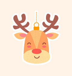festive christmas toy reindeer for tree vector image