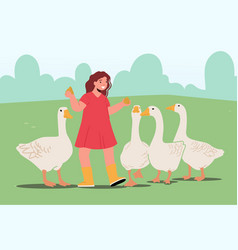 Girl feeding fowl on nature child in outdoor zoo vector