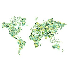 Go green hands World map vector