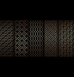 golden oriental seamless patterns with swirls vector image