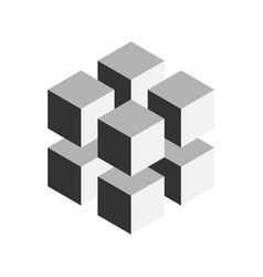 grey geometric cube of 8 smaller isometric cubes vector image