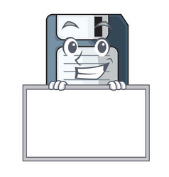 Grinning with board cartoon shape in floppy vector