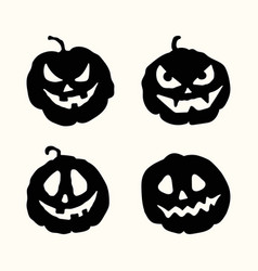 halloween silhouette spooky face pumpkins set vector image