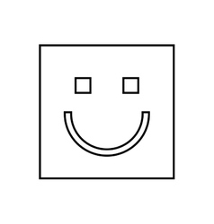 happy face square isolated icon design vector image