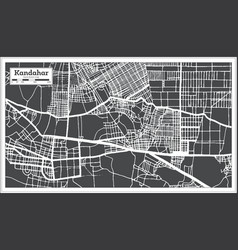 Kandahar afghanistan city map in black and white vector