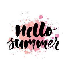 lettering with phrase hello summer watercolor vector image