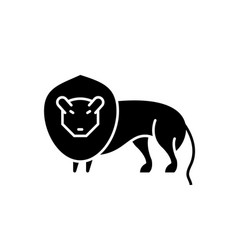 lion black icon sign on isolated vector image
