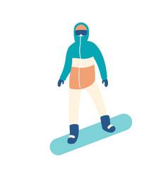 man in snowsuit riding snowboard guy in seasonal vector image