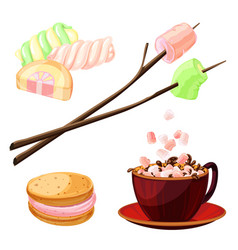 marshmallow icons set cartoon style vector image