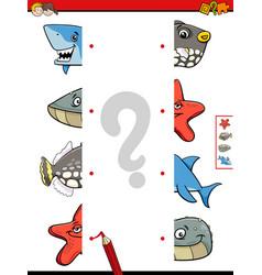 Match animal halves cartoon game vector