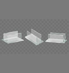 Menu price tag plastic holders realistic vector
