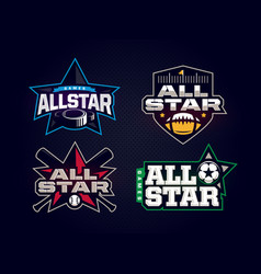 Modern professional emblem all star collection vector